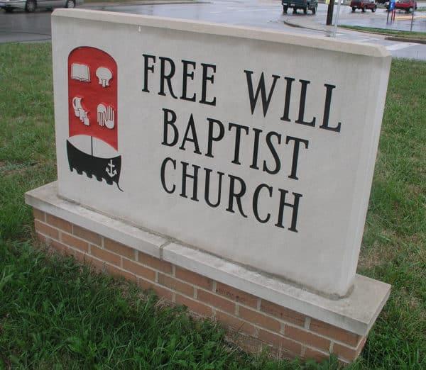 Free Will Baptist Church Limestone Sign