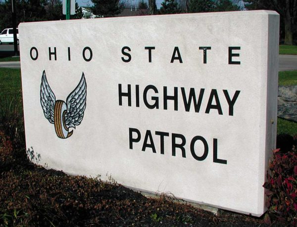 Ohio State Highway Patrol Limestone Sign