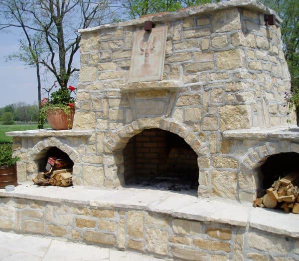 Large Outdoor Shoreline Buff Fireplace