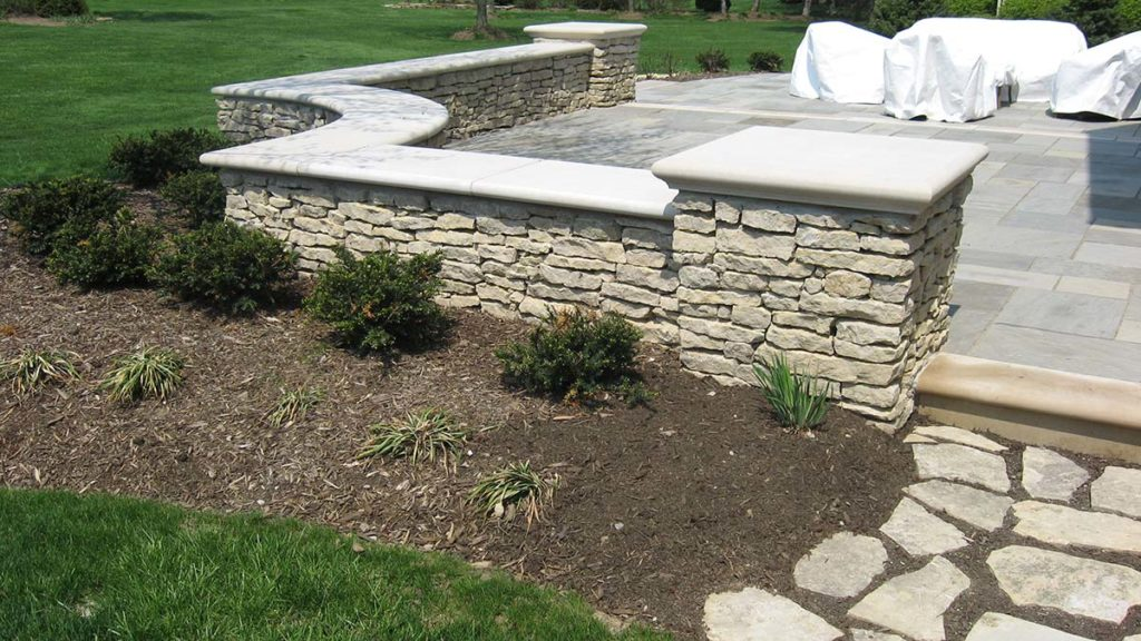 Harbor Blue Patio, Shoreline Thin Walls, Indiana Limestone Steps and Caps and Ottawa Smooth Steppers