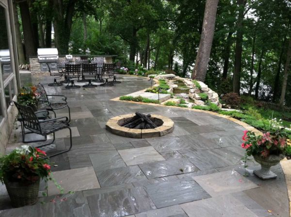 Harbor Blue Patio with Natural Beaverdam Outcropping