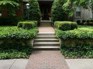 Indiana Limestone Steps and Brick Walkway