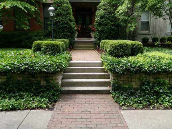 Indiana Limestone Steps and Brick Walkway