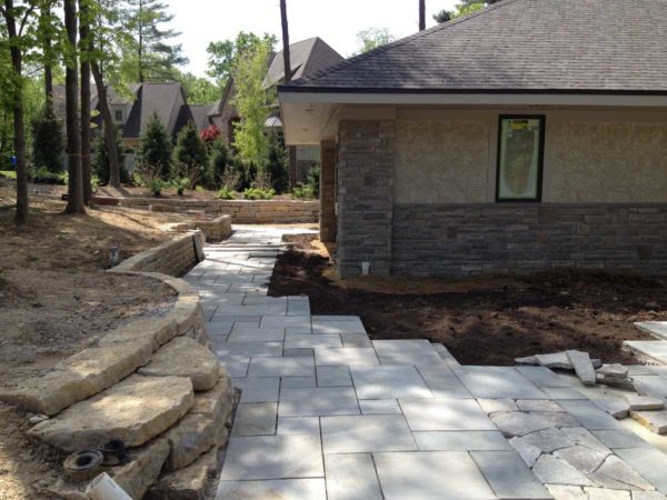 Natural Outcropping Beaverdam Slab Retaining Wall and Harbor Blue Patio