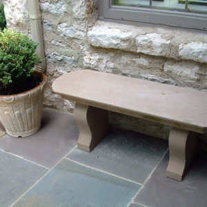 Curved Top Limestone Custom Bench