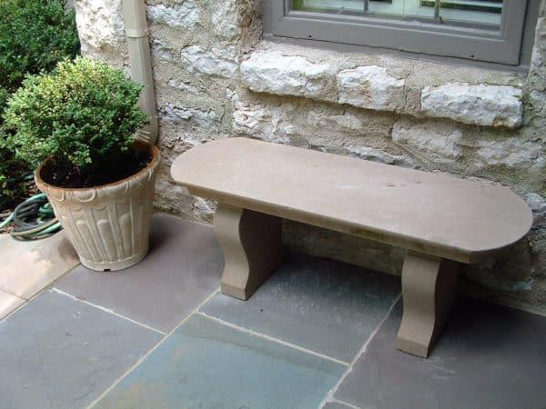 Curved Top Limestone Custom Bench
