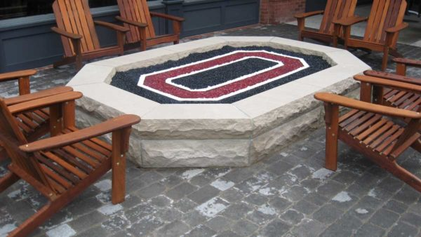 Large Ohio State Fire Pit with Indiana Limestone Walls