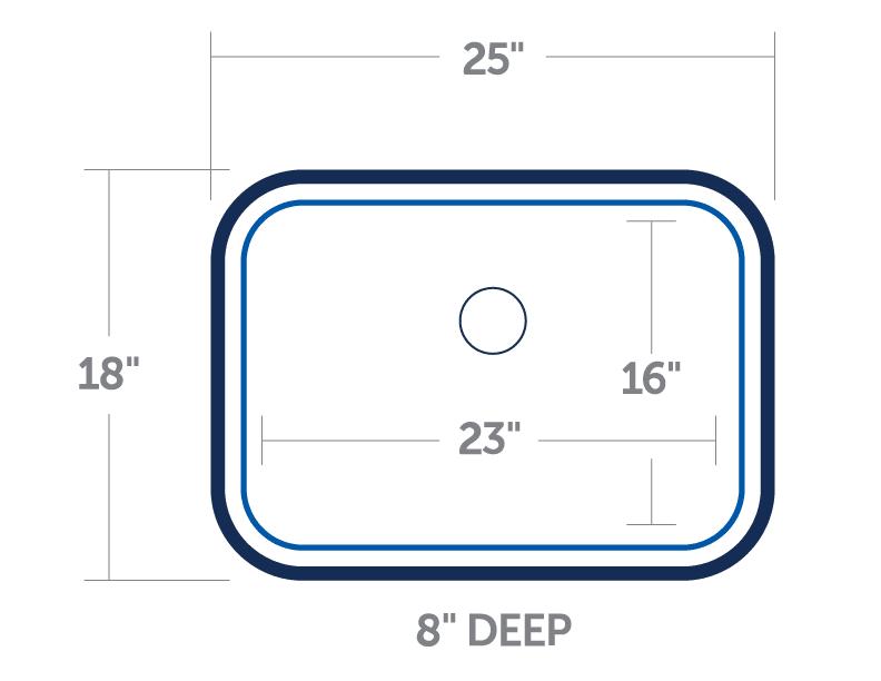 Blanco 441025 Medium Single Bowl 18 Gauge Stainless Steel