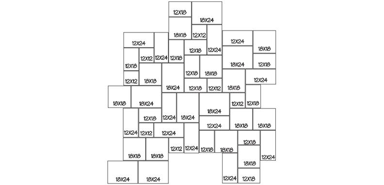 LANG 1 - RANDOM 100 Sq. Ft. Repeating Pattern (10' x 10')