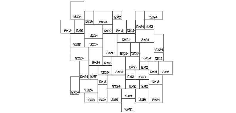 LANG 3 - RANDOM 100 Sq. Ft. Repeating Pattern (10' x 10')